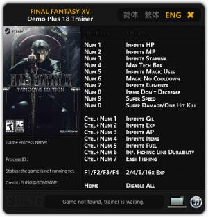 Final Fantasy XV Trainer +18 Demo {FLiNG}