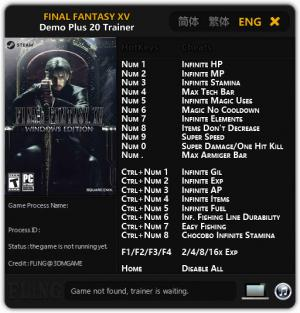 Final Fantasy XV Trainer for PC game version Demo