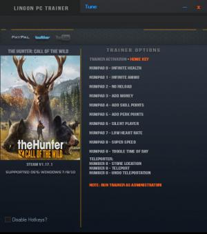 theHunter: Call of the Wild Trainer for PC game version v1.17.1