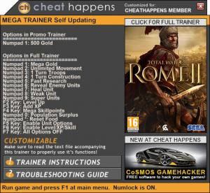 Total War: Rome 2 Trainer for PC game version v2.2.0 Build 17561.1238328 HF2