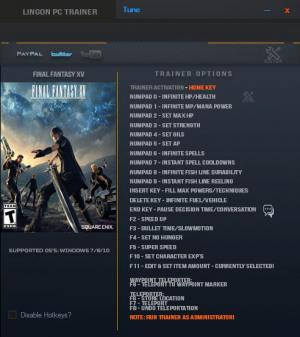 Final Fantasy XV Trainer +22 v1.01 {LinGon}