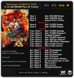 Nobunaga's Ambition: Taishi Trainer for PC game version v1.0 - 2018.03.08