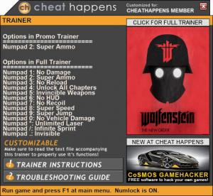Wolfenstein: The New Order Trainer for PC game version Patch 03.09.2018