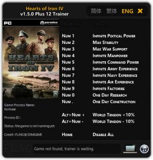 Hearts of Iron 4 Trainer for PC game version  v1.0 - 1.5.0