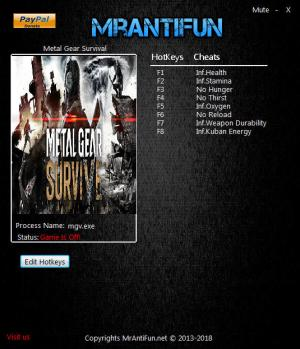 Metal Gear Survive Trainer for PC game version v1.04