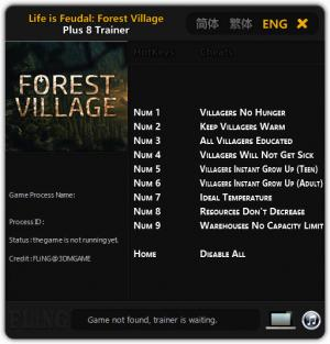 Life is Feudal: Forest Village Trainer +8 Updated 2018.03.22 {FLiNG}
