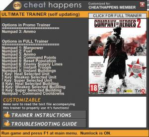 Company of Heroes 2 Trainer for PC game version v4.0.0.21863