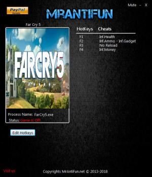 Far Cry 5 Trainer for PC game version 1.2.0