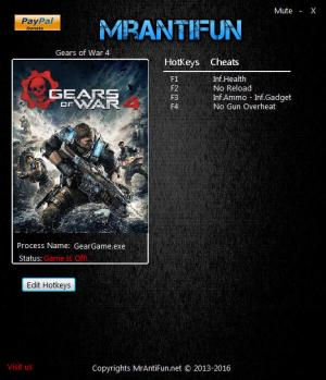 Gears of War 4 Trainer for PC game version v12.3.0.2