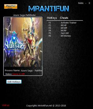 Azure Saga: Pathfinder Trainer for PC game version v1.0.3