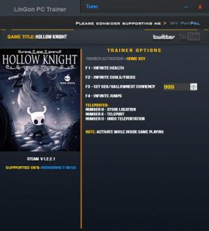 Hollow Knight Trainer +6 v1.2.2.1 {LinGon}