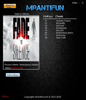 Fade to Silence Trainer for PC game version v1.0.842