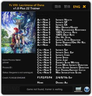 Ys VIII: Lacrimosa of DANA Trainer for PC game version v1.0