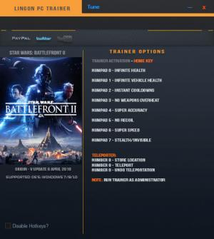 Star Wars: Battlefront 2 2017 Trainer for PC game version v1.0.17