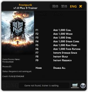 Frostpunk Trainer for PC game version v1.0