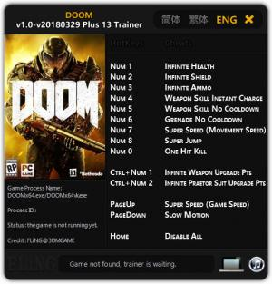 Doom 2016 Trainer +13 v1.0 Update 2018.03.29 {FLiNG}