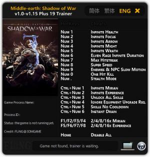 Middle-earth: Shadow of War Trainer for PC game version v1.0 - 1.15