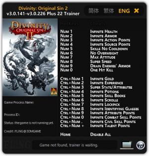 Divinity: Original Sin 2 Trainer for PC game version v3.0.226