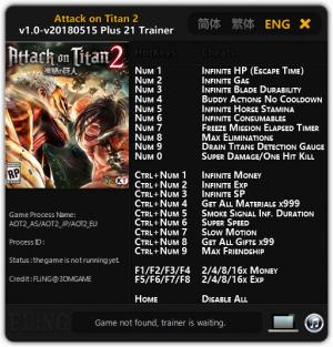 Attack on Titan 2 Trainer +21 v1.0 - 2018.05.15 {FLiNG}