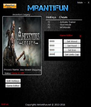 Ancestors Legacy Trainer for PC game version v47903