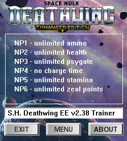 Space Hulk: Deathwing Trainer for PC game version v2.38