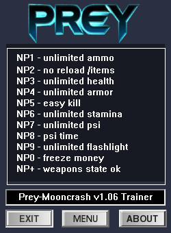 Prey 2017 Trainer for PC game version v1.06 Mooncrash