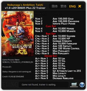 Nobunaga's Ambition: Taishi Trainer for PC game version v1.0 - 2018.06.05