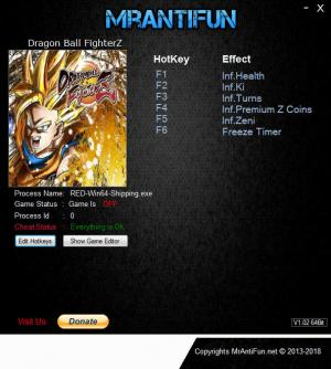 DRAGON BALL FighterZ Trainer for PC game version v01.09