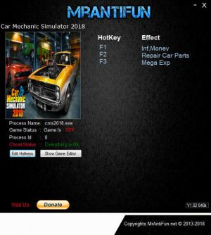 Car Mechanic Simulator 2018 Trainer for PC game version  v1.5.20