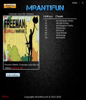 Freeman: Guerrilla Warfare Trainer for PC game version v0.180