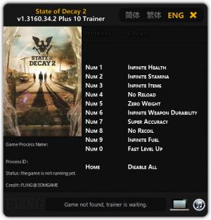 State of Decay 2 Trainer +10 v1.3160.34.2 {FLiNG}