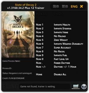 State of Decay 2 Trainer +12 v1.3160.34.2 {FLiNG}