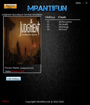 Judgment: Apocalypse Survival Simulation Trainer for PC game version v1.0.4037