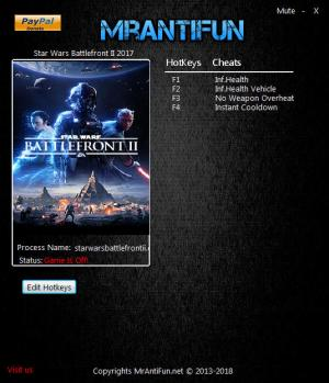 Star Wars: Battlefront 2 2017 Trainer for PC game version v06.18.2018