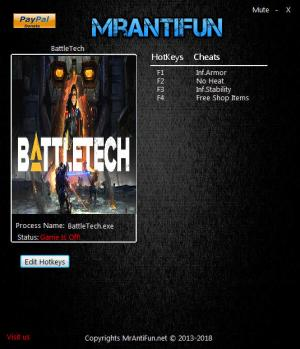 Battletech 2018 Trainer for PC game version v1.1.0