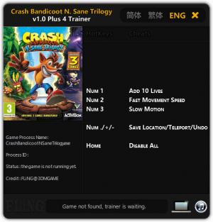 Crash Bandicoot N. Sane Trilogy Trainer for PC game version v1.0