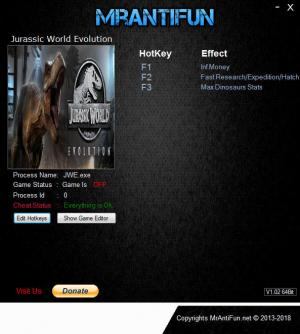 Jurassic World Evolution Trainer +5 v1.2.1.34159 {MrAntiFun}