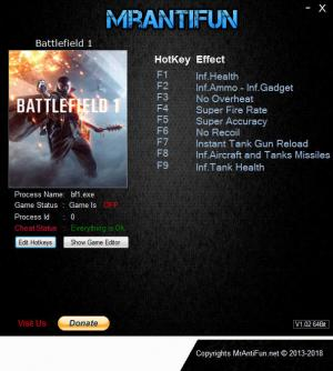 Battlefield 1 Trainer for PC game version v19699