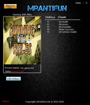 Running With Rifles Trainer for PC game version v1.65