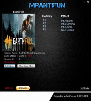 Earthfall Trainer for PC game version v1.00