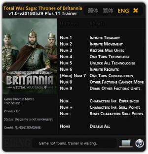 Total War Saga: Thrones of Britannia Trainer for PC game version v1.0 Update 2018.05.29