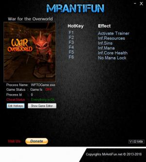 War for the Overworld Trainer for PC game version v2.0.3f1