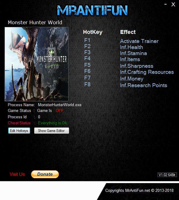 Monster Hunter: World Trainer +7 v1 00 MrAntiFun - download pc cheat