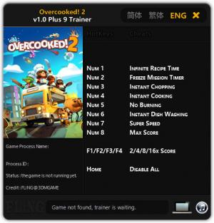 Overcooked 2 Trainer for PC game version v1.0