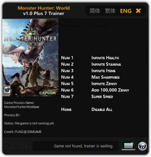 Monster Hunter: World Trainer +7 v1.0 {FLiNG}