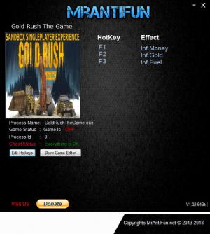 Gold Rush: The Game Trainer for PC game version v1.4.3.9250