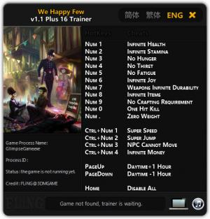 We Happy Few Trainer for PC game version v1.1
