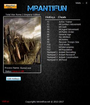Total War: Rome 2 Trainer for PC game version v2.3.0 Build 18462
