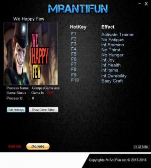 We Happy Few Trainer for PC game version v1.1.69866 64bit