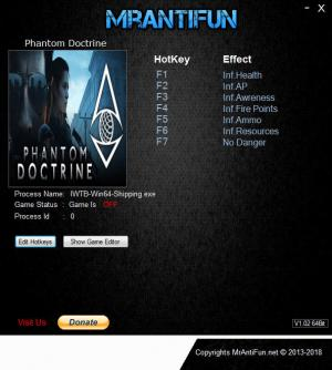 Phantom Doctrine Trainer for PC game version v1.00